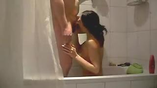 Wife in shower giving blowjob