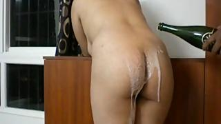 Horny Indian men tasting her wife ass with champange